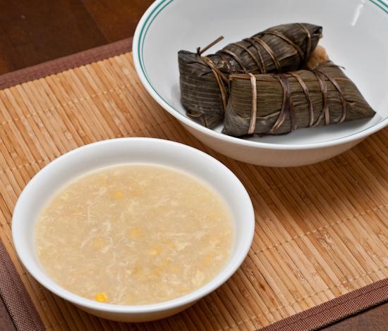 Corn soup and zong zi