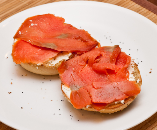 Everything bagel with cream cheese and smoked salmon