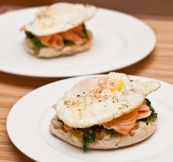 Open Faced Sandwich of Smoked Salmon, Spinach, and Fried Egg