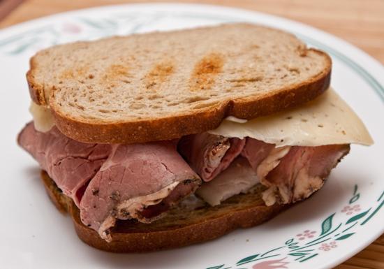 Roast beef and turkey sandwich