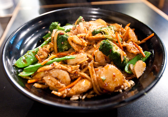 Fire Bowl Cafe - Stir Fried Kung Pao Chicken and Shrimp over Fried Rice