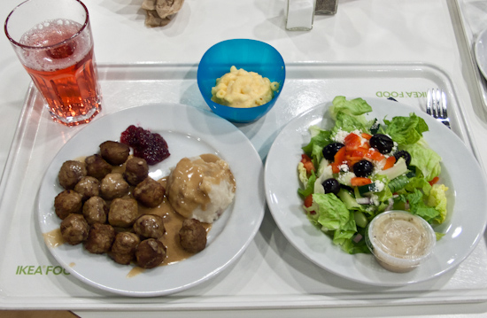 IKEA - Swedish meatballs with mashed potatoes and side of macaroni and cheese, Greek Salad
