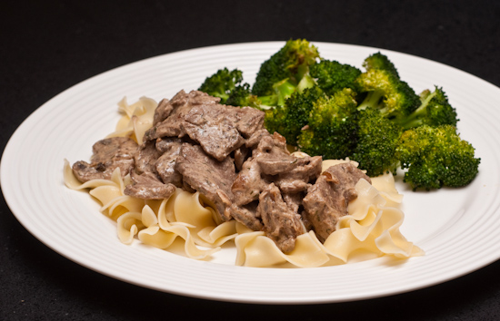 Beef Stroganoff with egg noodles and roast broccoli