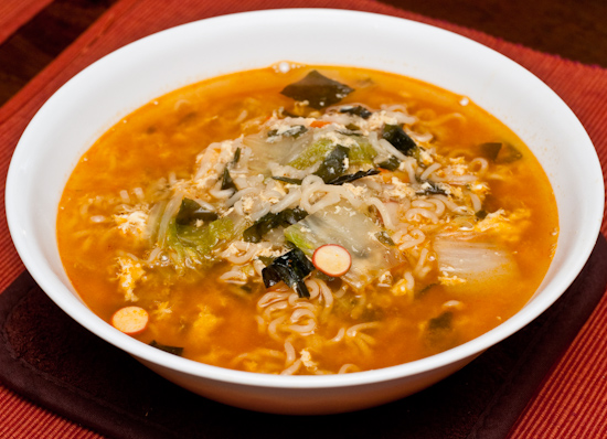 Nong Shim Seafood Ramyun with Napa Cabbage and Egg