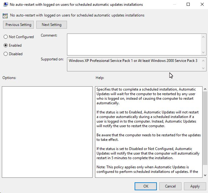 No auto-restart with logged on users for scheduled automatic updates installations